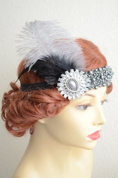 One of a Kind headpiece/headband made from a vintage recycled dark grey pearl and beading applique, and one Grey Ostrich feather. 1920s Headpiece, Gatsby Headband, Feather Headpiece, Feather Art, Rhinestone Headband, Fascinator, Shades Of Black, Black And Grey, Black Feathers