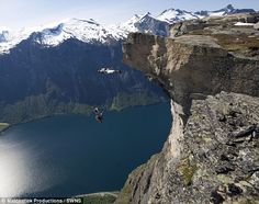 Incredible pictures as daredevils hurl themselves off mountain wearing wingsuits Wingsuit Flying, Base Jumping, Epic Fail Pictures, Paragliding, Farm Hero Saga, Daredevil, Rock Climbing, Dream Big, Norway