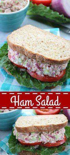 Salad Ham Salad - a great use for your leftover Holiday ham. Perfect for making sandwiches or wraps.Ham Salad - a great use for your leftover Holiday ham. Perfect for making sandwiches or wraps. Ham Salad Recipes, Sandwich Recipes, Pork Recipes, Cooking Recipes, Sandwich Ideas, Snack Recipes, Leftover Ham Recipes, Leftovers Recipes, Salad