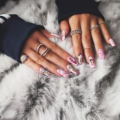 """""""Thank you @britneytokyo for coming to the house today to do our nails for Jordyns birthday! I love my Barbie nails """" #KylieJenner"""