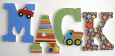 Custom Wooden Letters for Nursery - Construction Theme - Dump Truck - Baby Boy Hanging Wall Decor. Home Wooden Letters Wooden Letters For Nursery, Diy Letters, Wood Letters Decorated, Construction Theme, Construction Nursery, Big Boy Bedrooms, Diy Christmas Gifts For Family, Kids Rooms, Kid Bedrooms
