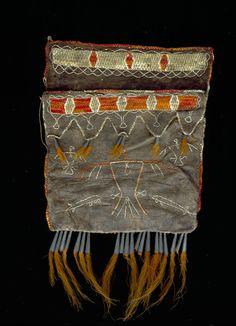 Probably Anishinaabe (Chippewa/Ojibwa) or Odawa (Ottawa) artist Shot pouch, late 18th-early 19th century Buckskin, porcupine quill, deer fur...