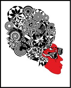 Psycho-punk Digital artwork prints for sale on canvas by Tina-Louise King  #steampunk #digitalart #art #printsforsale #blackandwhite #spirograph #face #graphic #vector