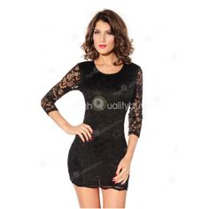 Sexy Black Round Neck Slim Lace Polyester Women Club Dress $20.99