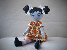 This doll is 100% hand made and it's made from felt.  It's nice and soft, perfect for hugging.  I made dress separately from old, recycled material.  This puppet is child friendly, made in cruelty free and nicotine free environment.