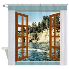 Window View of Mountain Lake and Hidden Homes Show on CafePress.com