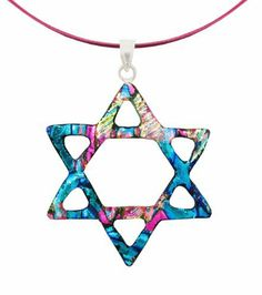 "Sterling Silver Dichroic Glass Aqua-Multi Cut-Out Star of David Pendant Necklace on Stainless Steel Wire, 18"" Amazon Curated Collection. $24.00. Made in Mexico"