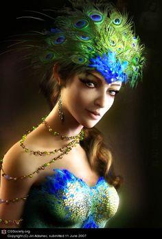 Peacock woman by Jiri Adamec | 3D | CGSociety