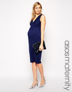 ASOS Maternity Exclusive Bodycon Dress With Wrap Over