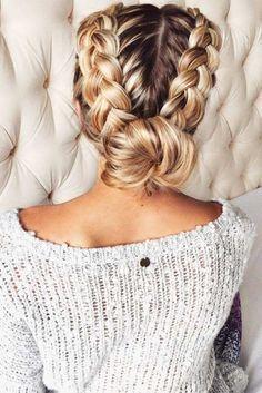 Pulled back braid.