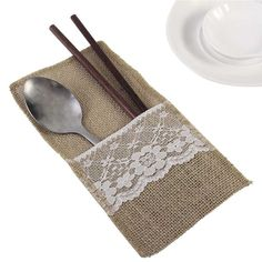 10Pcs Burlap Lace Burlap Cutlery Pouch Knife And Fork Spoon Holder Bag Tableware With Jute Rope Tableware Table Decoration #Affiliate