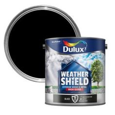 Dulux Weathershield Black Gloss Wood & Metal Paint 2.5L Metal Garage Doors, Metal Garages, Wooden Front Doors, Dulux Weathershield, Dulux White, Dulux Trade, Painted Garden Furniture, Dulux Paint, Farrow And Ball Paint
