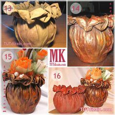 How to make a flower pot made of cloth and glue Cement Art, Concrete Crafts, Concrete Art, Making Fabric Flowers, Cloth Flowers, Diy Flowers, Diy Concrete Planters, Diy Planters, House Plants Decor