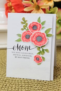 Dawn Woleslagle for Wplus9 featuring Spring Blooms stamps and die, and Strictly Sentiments 4 stamp set.