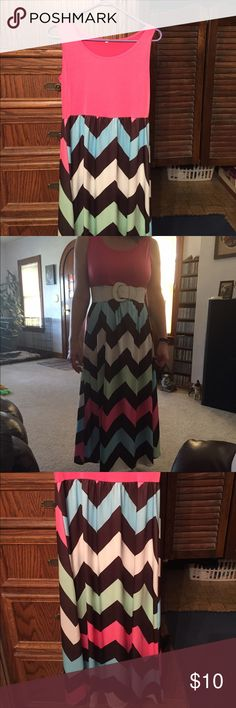 super cute dress super cute unknown brand name dress. size medium. comes with white belt. pink, brown, blue, green colors. Dresses Maxi