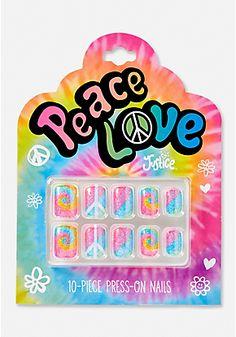 Peace & Love Glitter Press On Nails