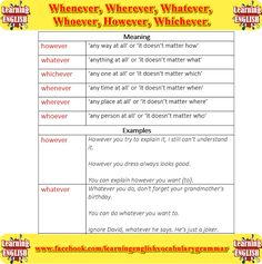 Difference between whenever, wherever, whatever, whoever, however  - learning English basics