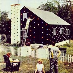 Emery Jernquists Rhode Island house in 1951.  He painted it black & decided it was too boring so added some polka dots...why not?!