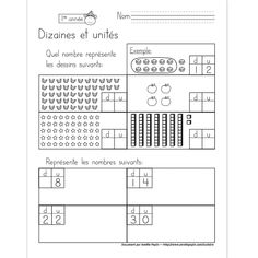 Fichier PDF téléchargeable En noir et blanc seulement 1 page Dans cet exercice, l'élève trouve les 4 nombres représentés par les dessins et il représente les 4 nombres demandés. Numbers Preschool, Math Numbers, Math 2, First Grade Math, Math Term, Math Tables, Math Place Value, Math For Kids, Elementary Math
