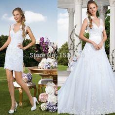 Romantic White Lace wedding dress 2015 Removable Shirt V Neck A-Line Vestido de noiva 2015 Plus size Wedding gowns