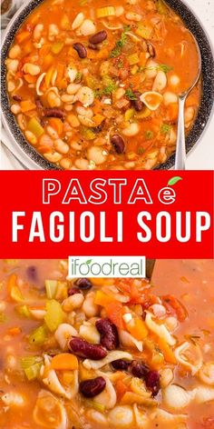 Hearty and thick this Pasta e Fagioli Soup is a favorite. Bursting with flavors, this Italian classic comes together with pantry staples like beans and pasta in one pot. Healthy Family Meals, Healthy Meal Prep, Healthy Soup, Healthy Breakfast Recipes, Healthy Cooking, Lunch Recipes, Real Food Recipes, Healthy Recipes, Pasta E Fagioli Soup