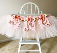 Butterfly and flowers birthday party decorations for girls. First Birthday photo shoot high chair banner First Birthday Banners, Baby Girl First Birthday, Boy Birthday Parties, Birthday Ideas, Birthday Diy, Birthday Cake, Minnie Mouse Party Decorations, Birthday Party Decorations, Butterfly Birthday