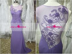 RE234 Lilac Sexy Evening dress with Pearls Long by Aegeanbridal