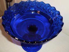 Vintage Daisy Button Cobalt Blue Compote | eBay