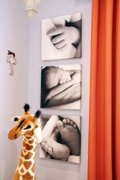 Love orange color scheme with a giraffe for a nursery. Also the blown up pictures of baby