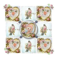 """""""Heart Bird Roses Friendship Quilt"""" by catfabricsandbuttons ❤ liked on Polyvore featuring art and heart"""