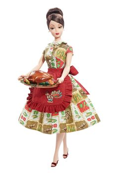 """""""Thanksgiving Feast Barbie"""" -- because nothing says """"holiday"""" like a dress decorated with vegetables."""