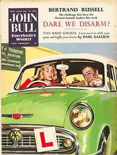 John Bull Magazine Cover Image Courtesy of The Advertising Archives: http://www.advertisingarchives.co.uk Vintage, illustrations, covers, artwork, Retro, British magazines, motoring, cars, learner drivers, applying make-up, driving