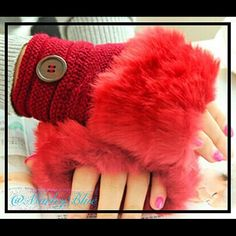 Awesome Red Fingerless Gloves w Faux Fur Super cute red knitted fingerless gloves with button. Has matching faux fur. Super convenient for staying warm while keeping your fingers free for use. Price is firm. 20% off 2 or more items. Accessories Gloves & Mittens