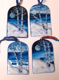 Christmas, Holiday Fused Glass Ornaments Dichroic Snowflake Moon Winter Snow Home Decor
