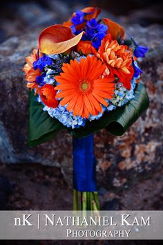 blue and orange bouquet, San Diego Wedding and Engagement Photography by Nathaniel Kam