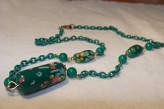 Art Deco green lampwork beaded necklace with by deliadelia on Etsy