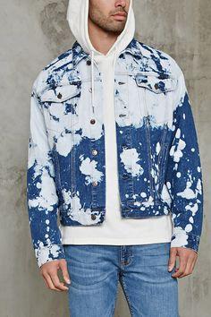 Bleach Dye Denim Jacket by Forever 21 Denim Blazer, Denim Jacket Men, Denim Shirt, Jean Jacket Outfits, Bleached Jeans, Long Sleeve Tee Shirts, Denim Fashion, Style Fashion, Bleach Dye