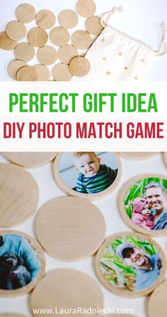 Here's the perfect gift idea: a DIY photo match game! Use wooden circle discs, photos and Mod Podge to make a custom photo match game that makes the perfect handmade Christmas gift!