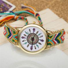 Handmade Native Boho 12 Feathers Ladies Watch - Color 1