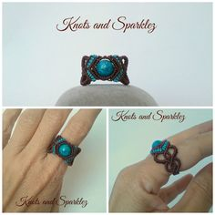 This is a hand made macrame ring, knotted with high quality macrame cords around a dyed Jasper stone, in either green or turquoise tones. The