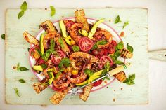 These sticky prawns done on the barbecue are perfect in this Mediterranean-inspired salad.