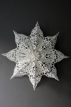 Snowflake or Star made from doilies. More