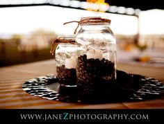 coffee beans, candles...place mirror under to magnify candelight