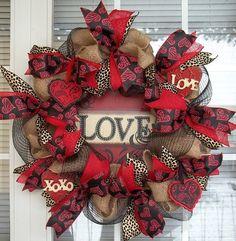 NATURAL LOVE - XL Burlap Deco Mesh Valentine's Day Wreath Decoration by DecorClassicFlorals on Etsy, $129.95
