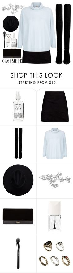 """""""Cozy Cashmere Sweaters"""" by aguniaaa ❤ liked on Polyvore featuring Herbivore, Boohoo, Stuart Weitzman, Hobbs, Balmain, Christian Dior, MAC Cosmetics and ASOS"""