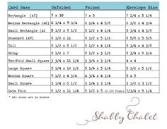 Chart outlining the dimensions of various card styles and the size shabby chalet studio 17 card envelope size chart reheart Choice Image