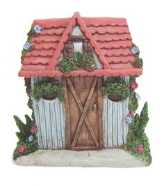Fairy Garden Blue Shed With Pink Roof