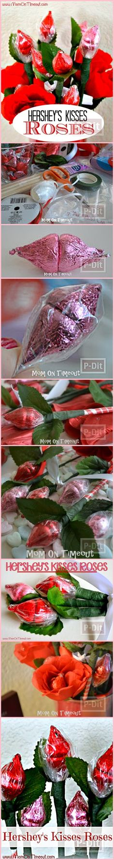 DIY Hershey Kisses Roses - perfect for teachers (chocolate bouquet tutorial) Mothers Day Crafts, Valentine Day Crafts, Holiday Crafts, Craft Gifts, Diy Gifts, Candy Arrangements, Bar A Bonbon, Candy Crafts, Chocolate Bouquet