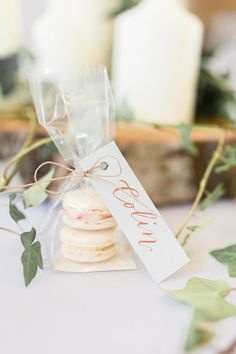 An English-Polish wedding in the beautiful Cotswolds. A Merriscourt barn wedding with gorgeous green and white florals with photography by Jessica Davies. Wedding Favors And Gifts, Macaroon Wedding Favors, Macaroons Wedding, Elegant Wedding Favors, Wedding Shower Favors, Macaron Favors, Art Deco Wedding Favors, Luxury Wedding Gifts, Wedding Souvenir