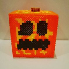 Minecraft pumpkin lantern perler beads by 8bit_tonitots